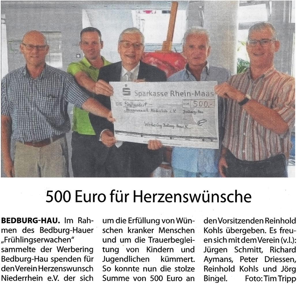 500 Euro Spende vom Werbering Bedburg-Hau an den verein Herzenswunsch Ndrh. e.V.