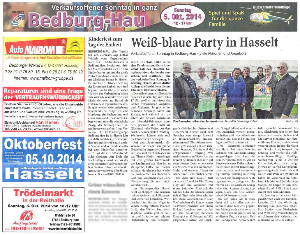 Artikel vom 1. Oktober 2014 in den Niederrhein Nachrichten