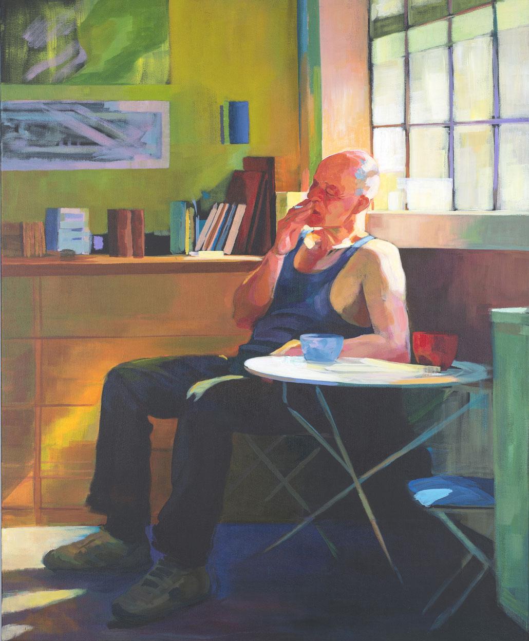 El descanso del pintor. 100 x 81 cm . Acrílico sobre lienzo.