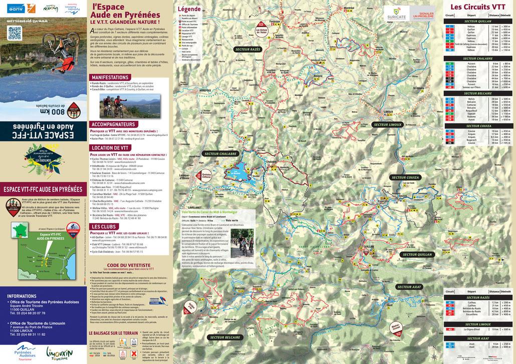 Carte de l'Espace VTT-FFC Aude en Pyrénées