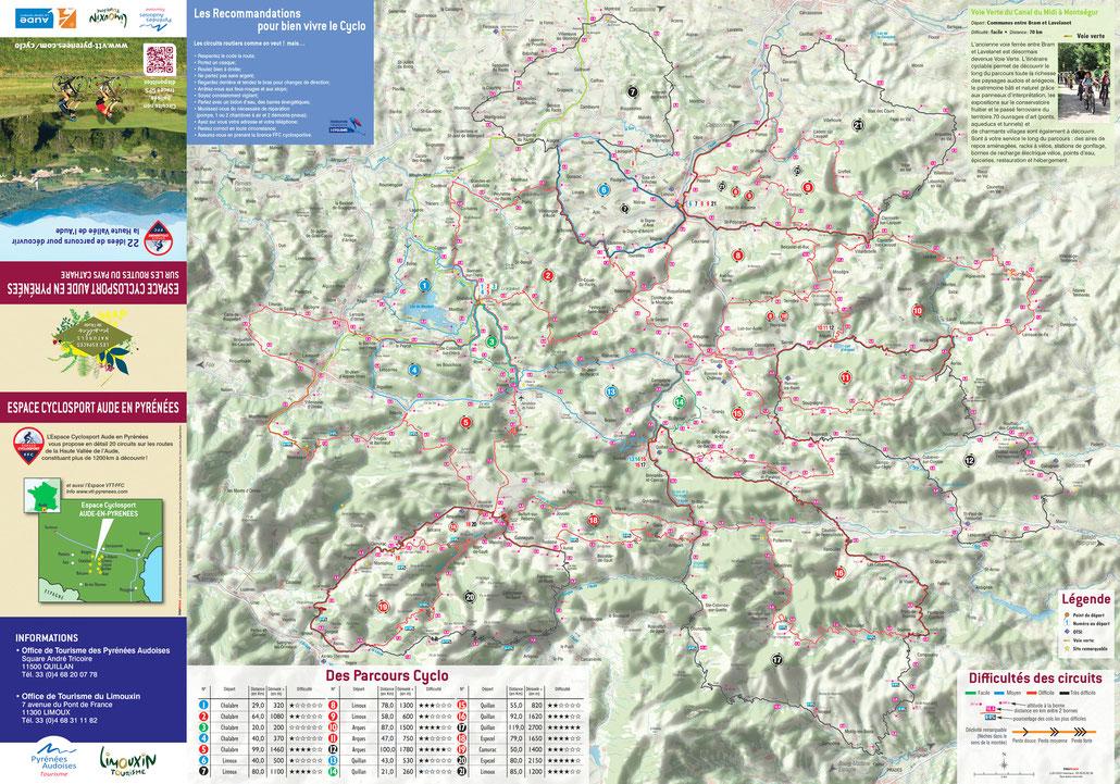 Carte cyclo Aude en Pyrénées