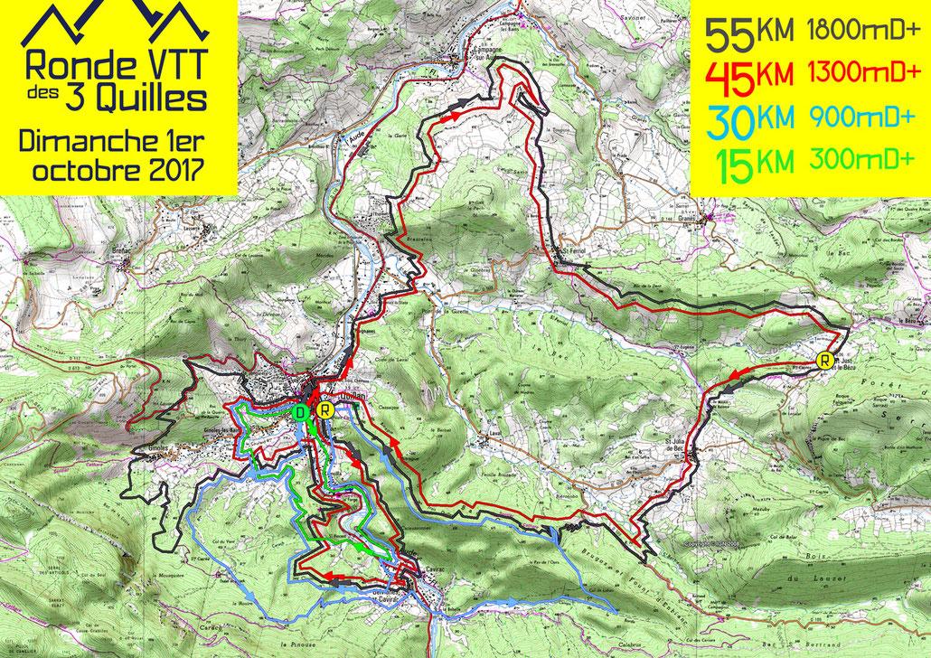 Ronde VTT des 3 Quilles 2017 - Plan des parcours