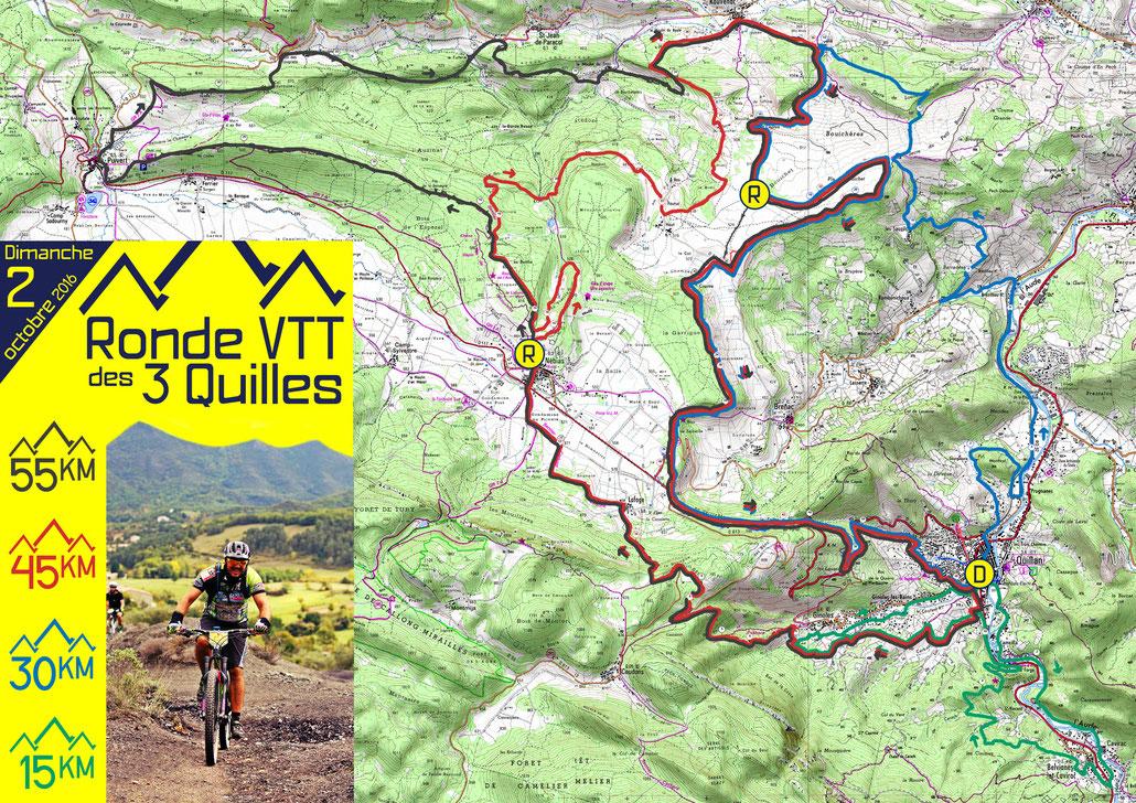 Ronde VTT des 3 Quilles 2016 - Carte des circuits