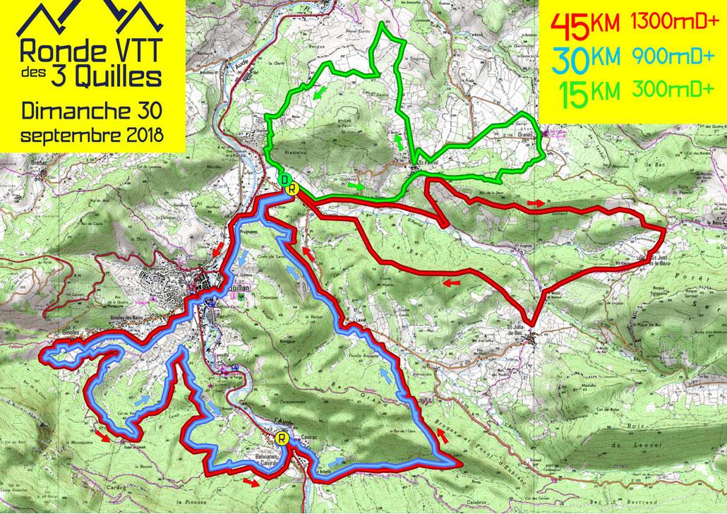 Ronde VTT des 3 Quilles 2018 - Plan des parcours