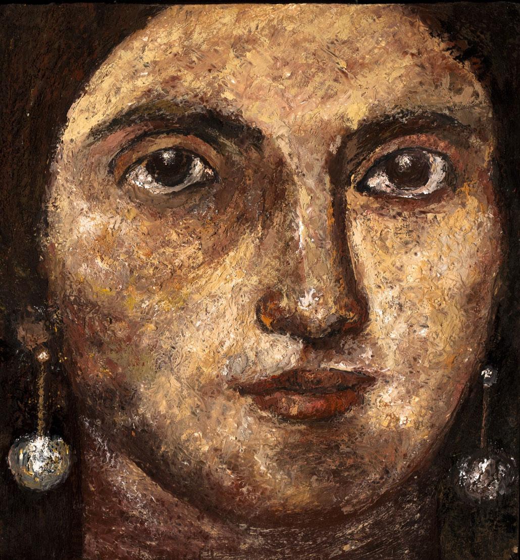 "Eldemira, The Gypsy, 2011, encaustics/panel, 12x11 ¾"""