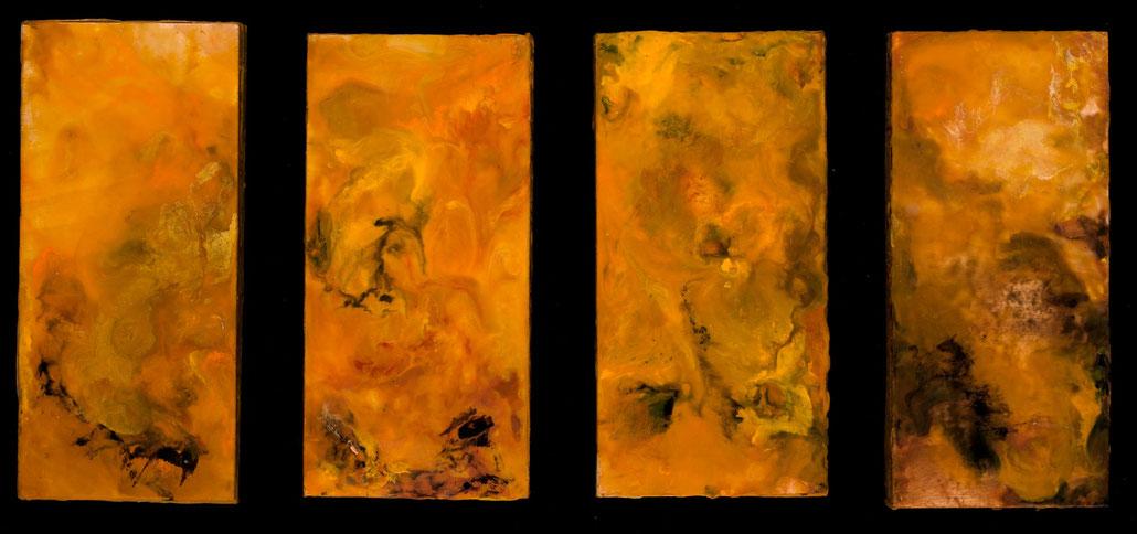 "Screen of Amber, 2011, encaustics, each panel 4x8"""
