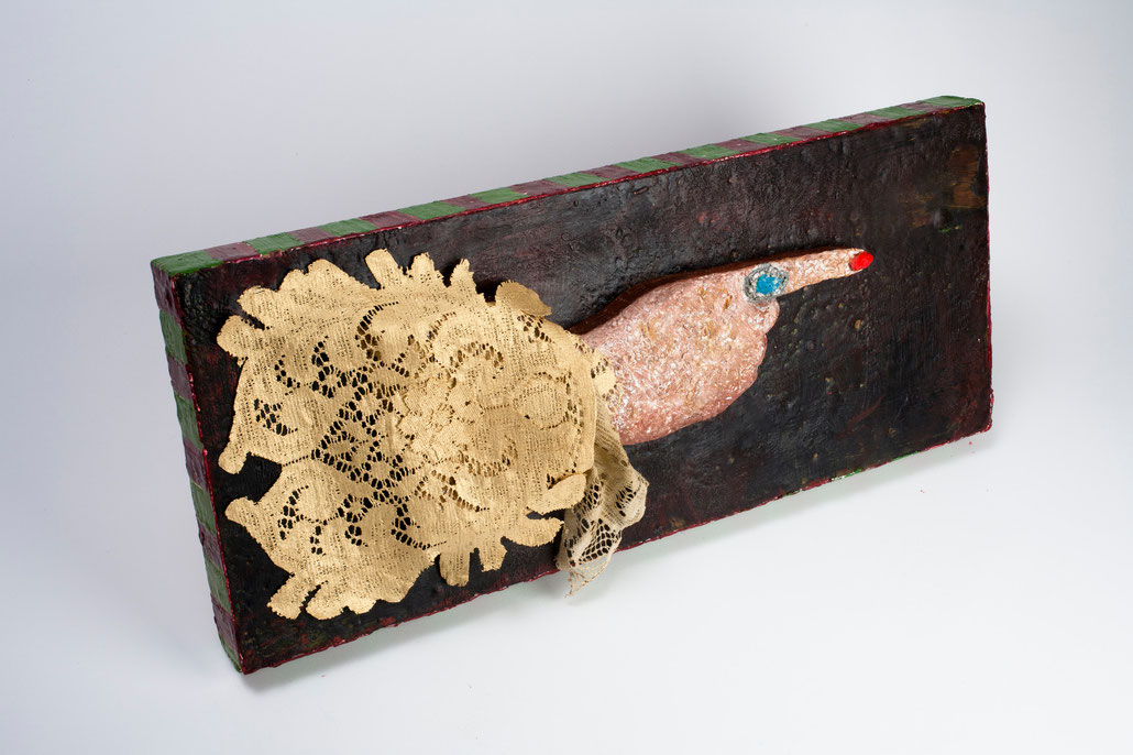 """The Hand of Fate (Endless Impossibilities Series), 2011, encaustics and lace on panel, lace work by Kathy Fogle, 23x9 5/8"""""""