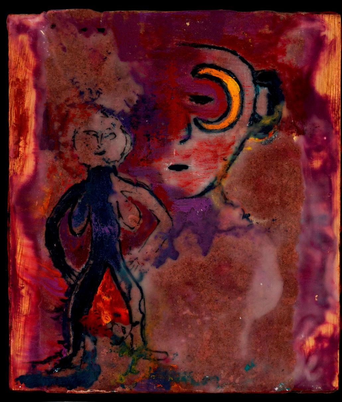 "Sheela-na-gig of the Moon, 2010, encaustic/xerox transfer/panel, 7x8"""
