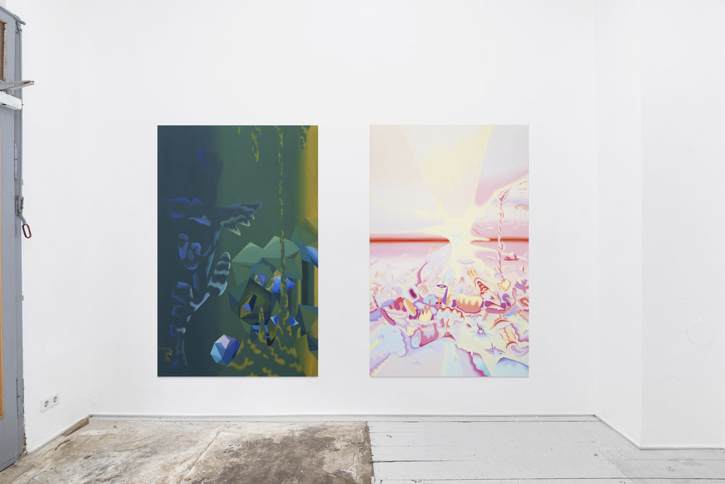 Untitled and Badlands, oil on canvas, 190 x 120 cm, 'Geister', 2020, Bistro21, Leipzig