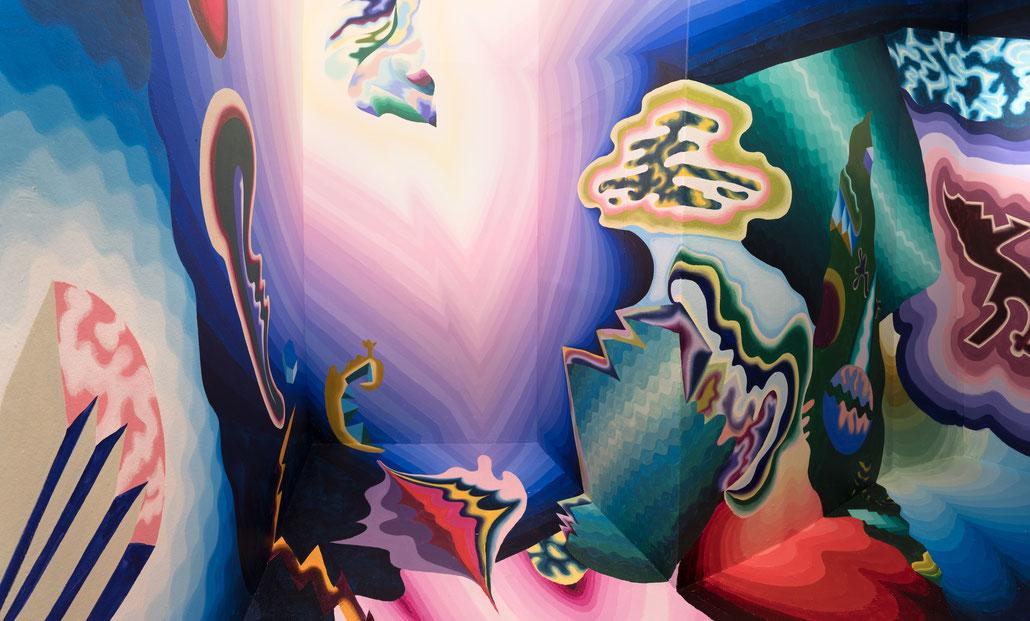 """""""Extrapolation"""", 2020, acrylics on wall, Künstlerverein Malkasten, Düsseldorf"""