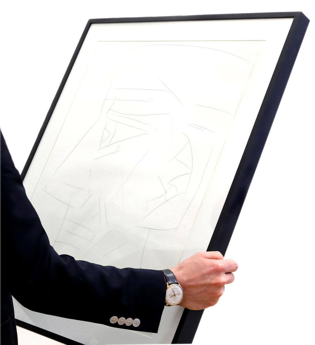 Hubert Schmalix Kunst Original signierte Zeichnung Jesus Christus im Porträt