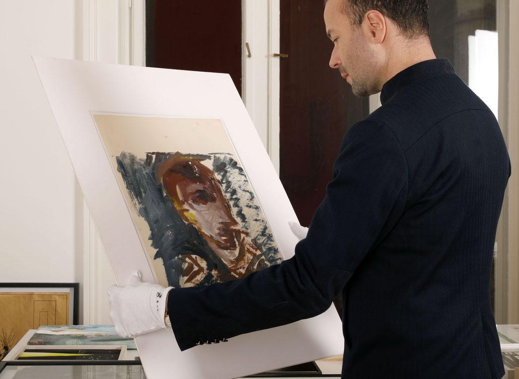 Siegfried Anzinger kaufen Kunst Artwork Portrait 1980s