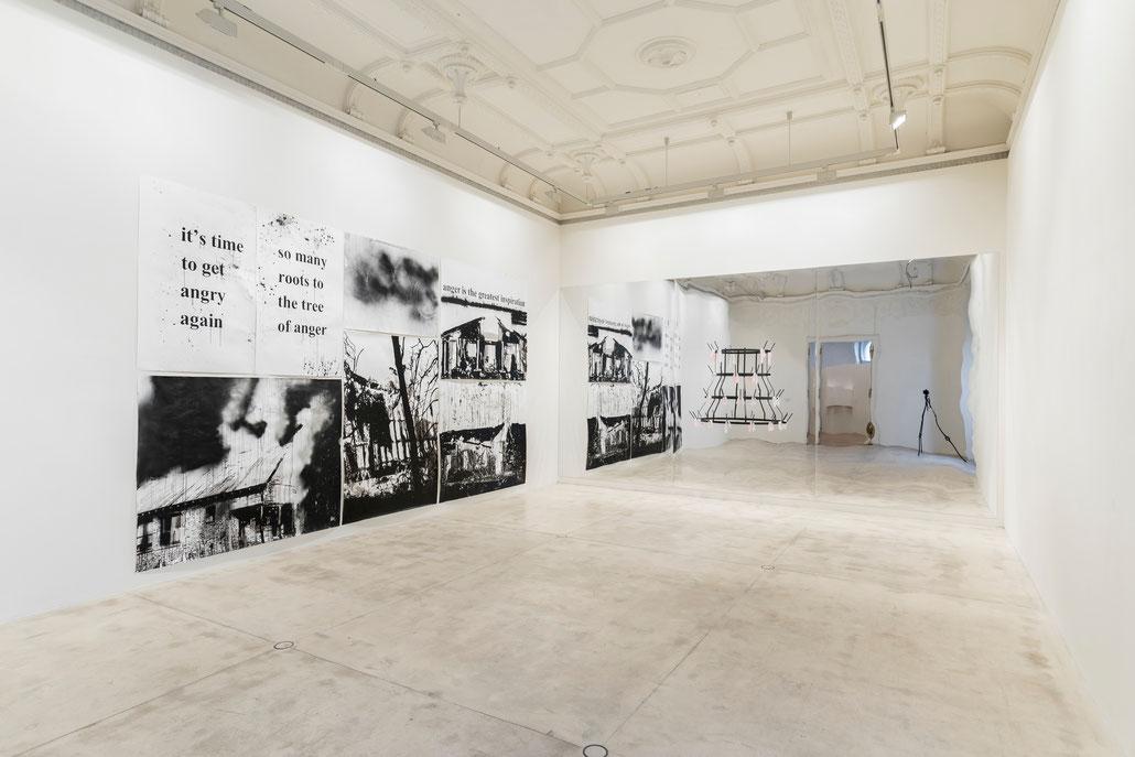 Monica Bonvicini art exhibition at the gallery Galerie Krinzinger. Gruppen-Ausstellung to a passer by.
