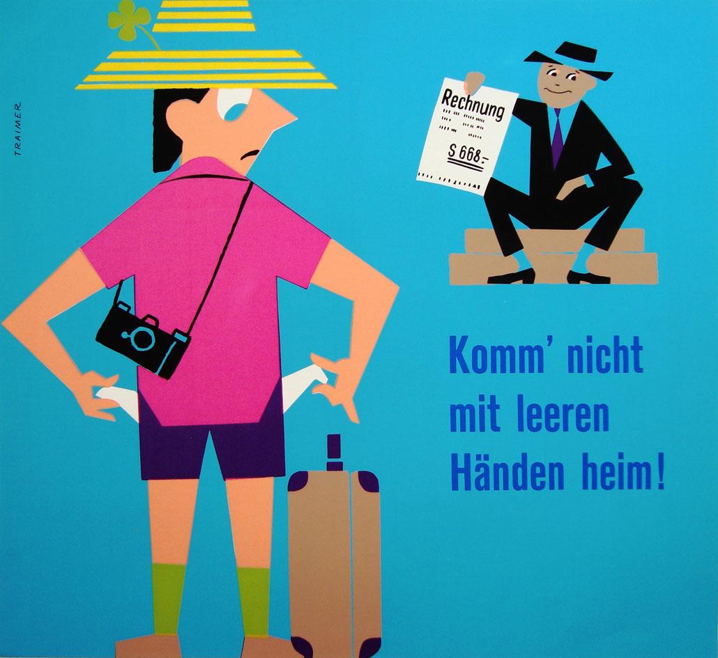 Original Vintage Plakat / Sparkassen Poster Heinz Traimer (1960s) Siebdruck / silkscreen print.