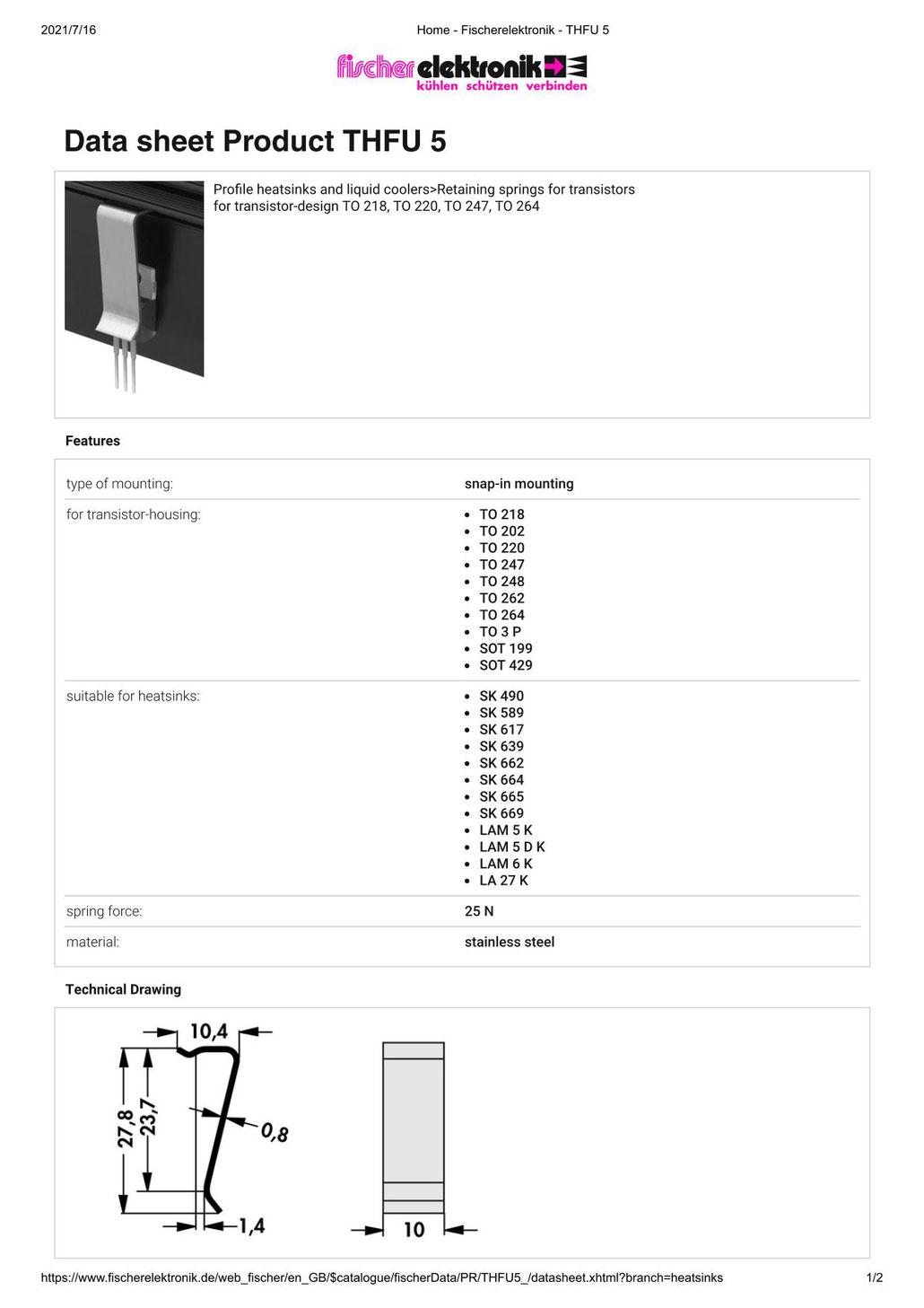 THFU5 Fischer Elektronik トランジスタ固定用スプリング