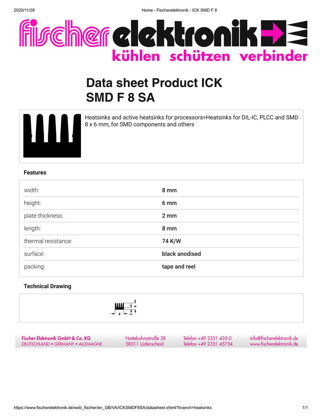 ICKSMDF8SA Fischer/フィッシャー 表面実装デバイス用 ヒートシンク
