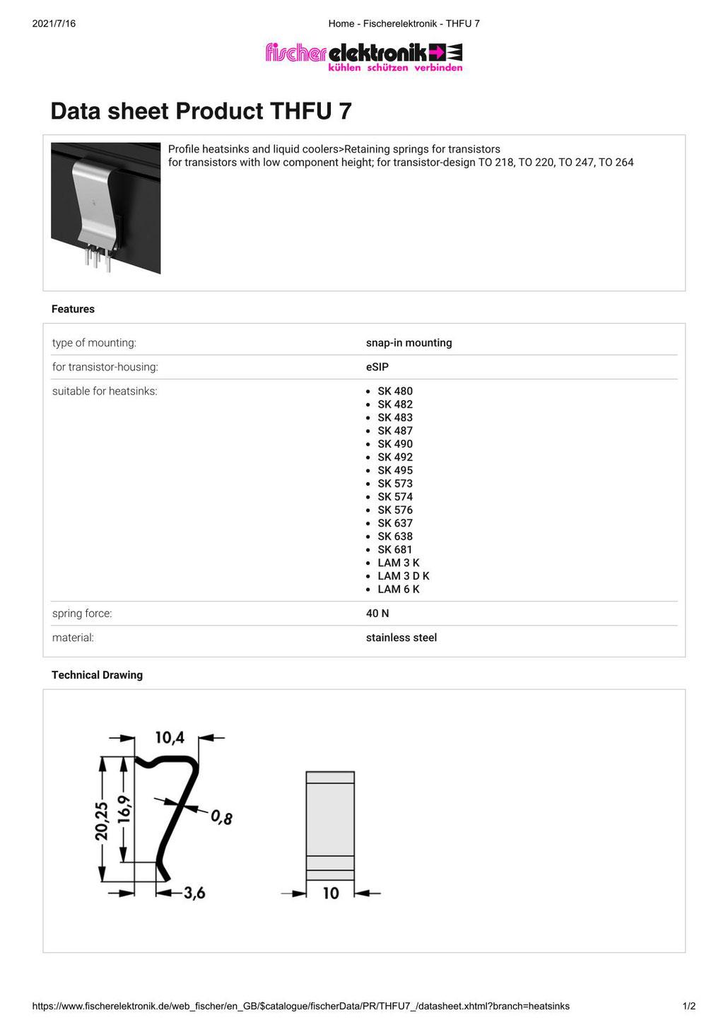 THFU7 Fischer Elektronik トランジスタ固定用スプリング