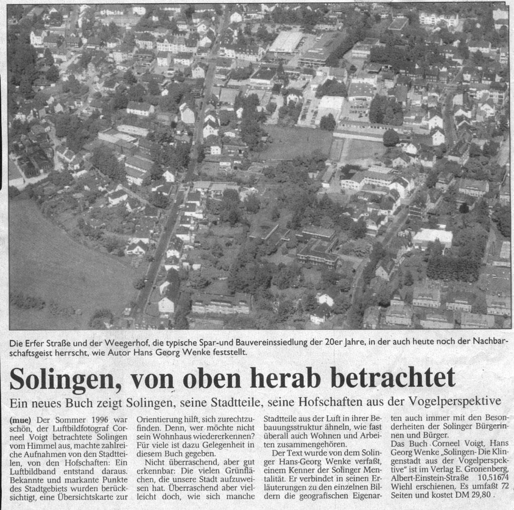 Mancher ist ja beleidigt, wenn man ihm sagt, er würde etwas von oben herab betrachten. Nööö, kann ich nicht sagen, im Gegenteil, die Beschreibung Solingens aus höherer Sicht hat mir sogar viel Spaß gemacht.