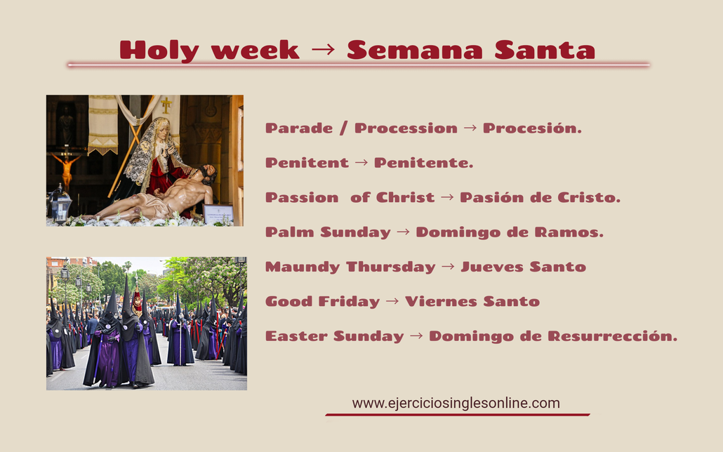 Vocabulario Semana Santa en inglés.
