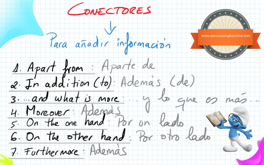 Conectores en inglés para añadir información