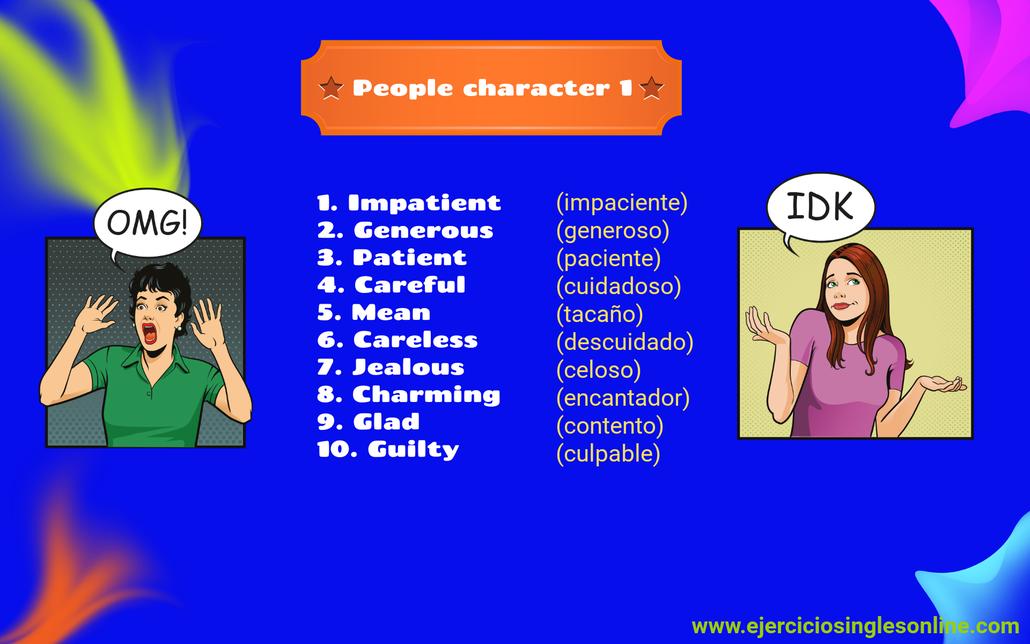 vocabulario personalidad inglés