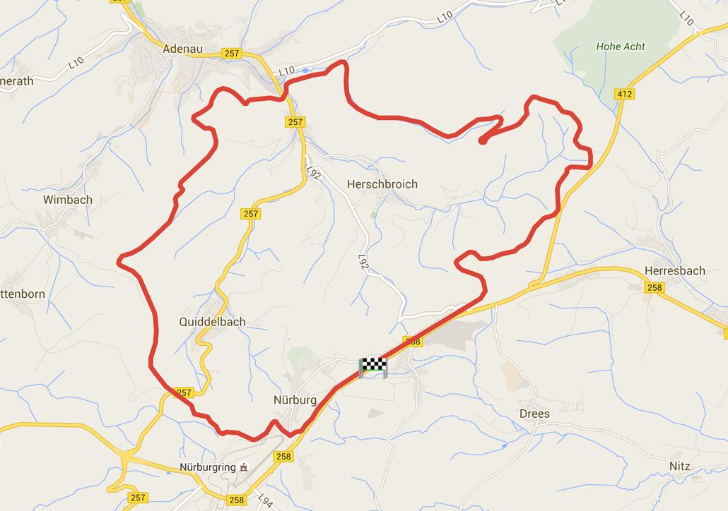 Karte Nürburgring Nordschleife (GPS-Logdaten © Pässe.Info, Karte Google Maps)