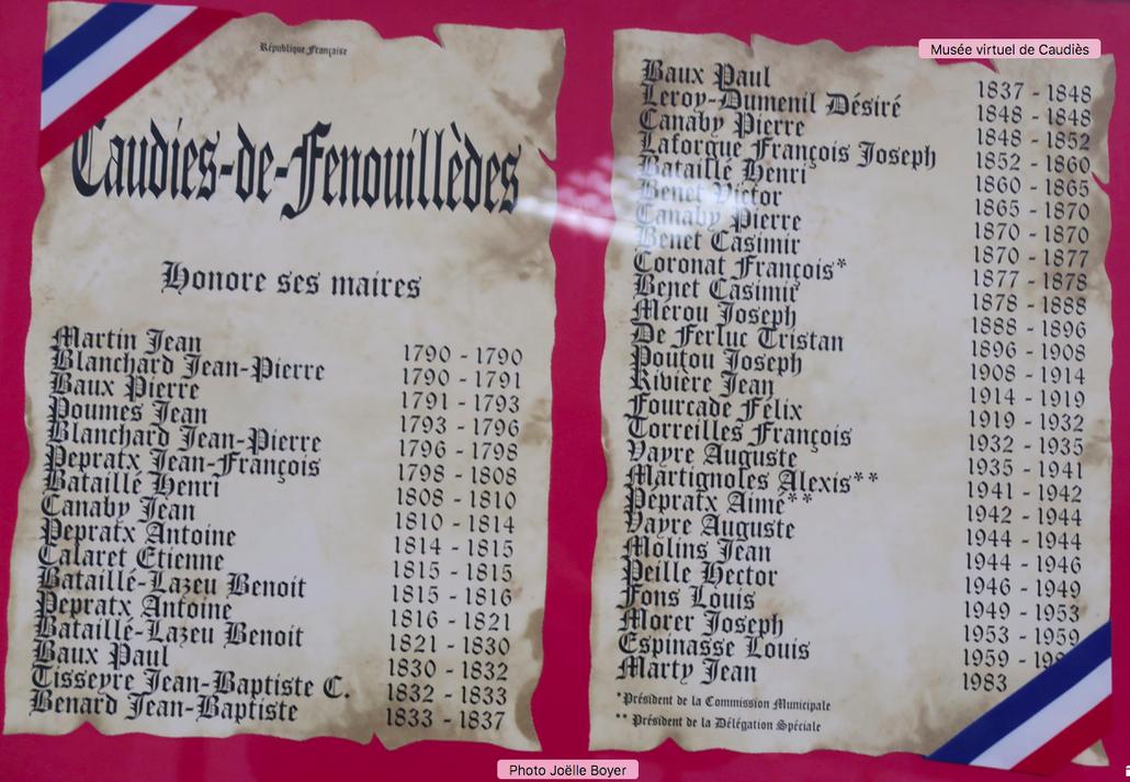 Tableau exposé à la Mairie dans la salle des Mariages