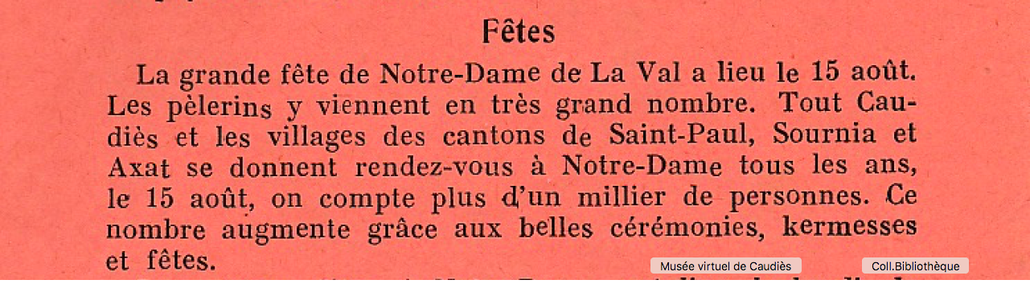 "In ""Messager de Notre-Dame de La Val"" Juillet 1938"