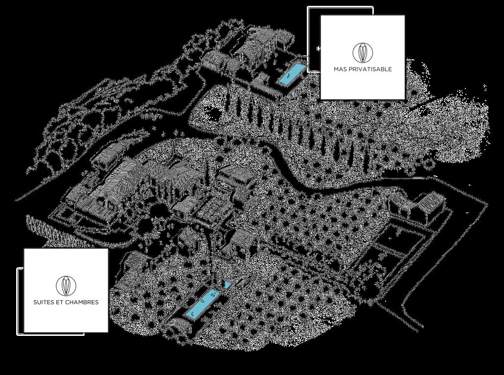 Hameau des Baux, complexe hôtelier 5 étoiles au coeur du Parc Naturel Régional des Alpilles