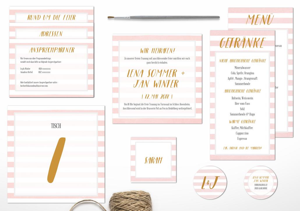 Juhu Papeterie, Pocketfold-Einladung, Deutschland, individuelles Design, elegant, Hochzeit, Hochzeitseinladung, Rosa, gold, mint, hellgrün