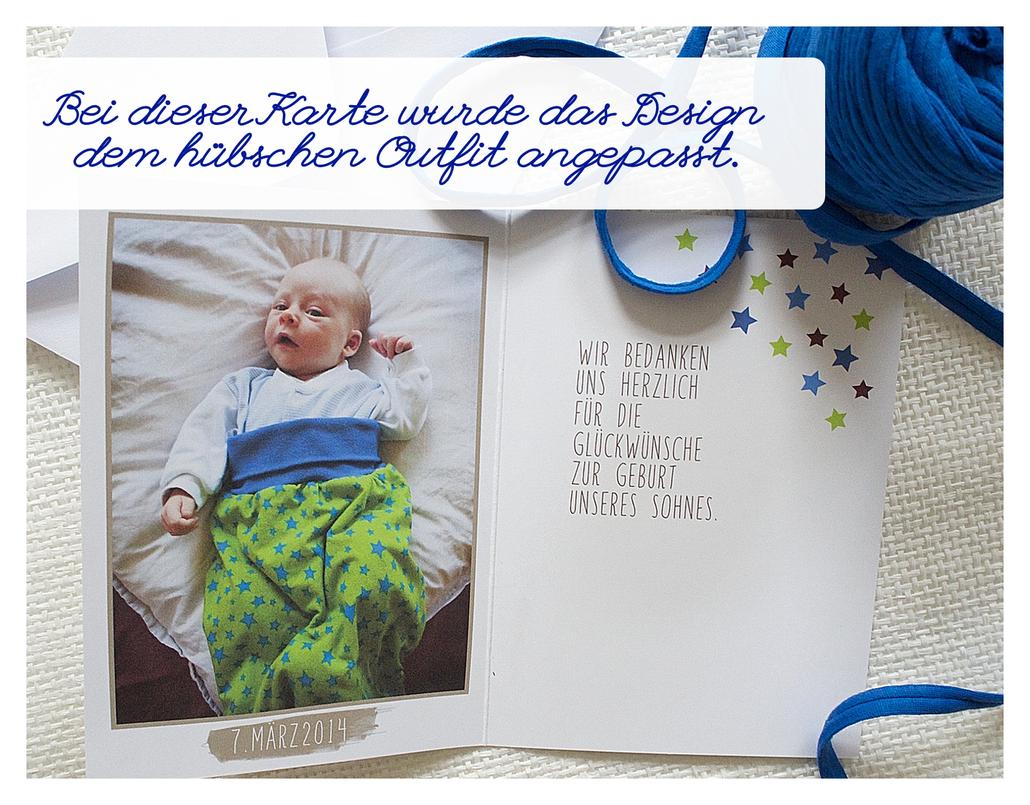 Babykarten, Dankeskarten, Indiviuell, persönlich, Juhu Papeterie, Karlsruhe, Sterne, blau, grün, rot, Modern, schlicht, mit Foto