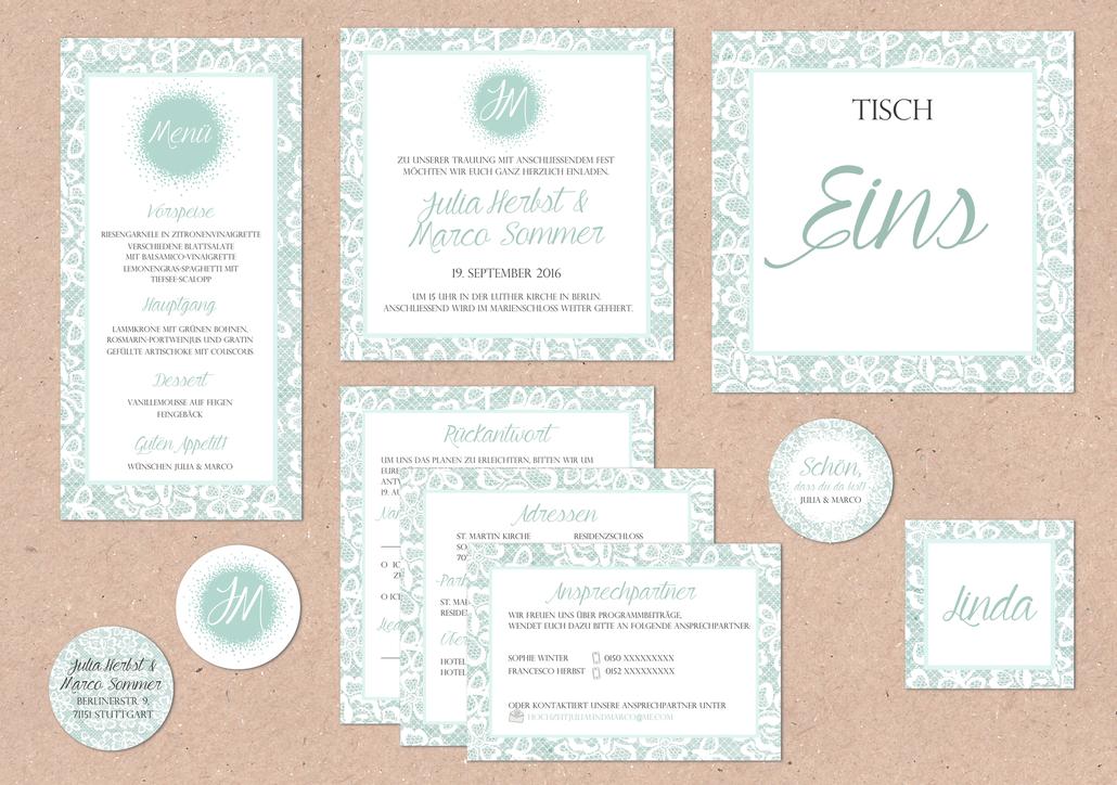 Juhu Papeterie, Spitze, Türkis, Hochzeit, Pocketfoldeinladung, Hochzeitsset, Spitze, Weiß, türkis, iceblau, elegant, logo Foto