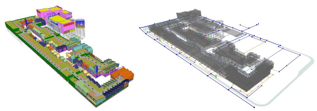 Modelos de Arquitectura y Estructura (izquierda) y Modelos de MEP (derecha)