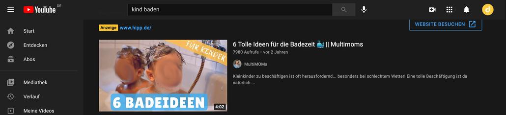 """Screenshot der Seite YouTube. Zu sehen ist das Tumbnail zu einem Video des Kanals """"Multimoms"""" mit dem Titel """"6 Tolle Ideen für die Badezeit"""" die Gesichter der Kinder wurden von mir unkenntlich gemacht."""