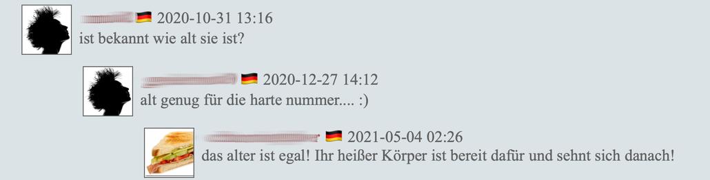 """Screenshot: Webseite russischer Bilderseite, Juni 2021, Teile wurden verfremdet Kommentare wie"""" Wie alt ist sie?"""" """"alt genug für die harte Nummer"""""""