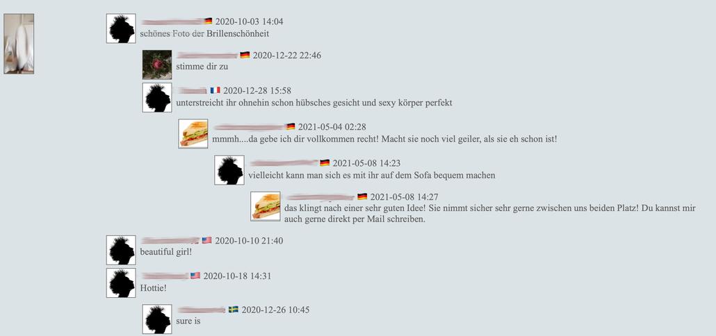 Screenshot: Webseite russischer Bilderseite mit Kommentaren zu einem Bild eines Mädchens mit expliziten Inhalten, Juni 2021, Teile wurden verfremdet
