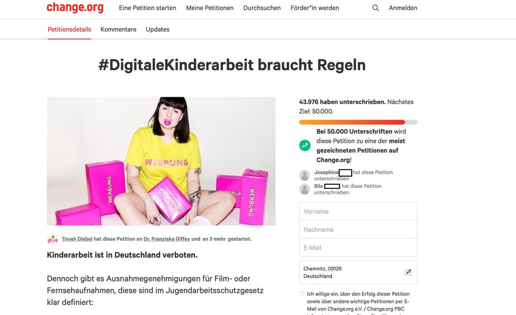 Screenshot der Seite Change.org auf welcher die Petition zu sehen ist.