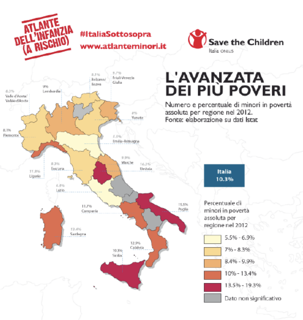 イタリア各州の未成年者貧困率(2012年)赤色が濃いほど貧困率が高くなる。