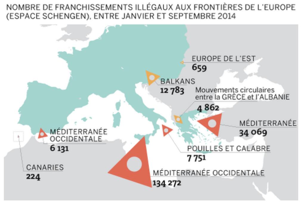 アフリカ・中近東からのユーロ圏への難民流入。ル・モンド紙より(2014年)