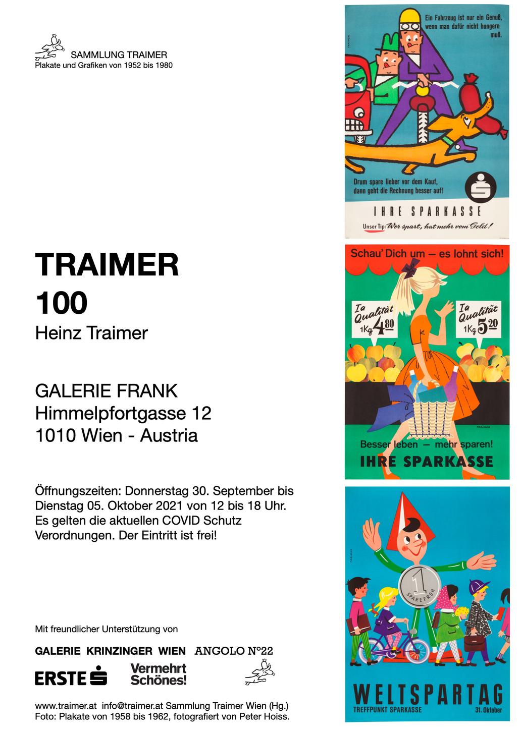 Heinz Traimer Ausstellung in der Galerie Frank Wien September Oktober 2021
