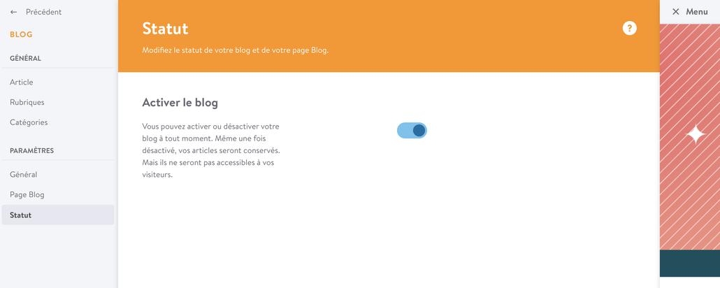 activer un blog jimdo