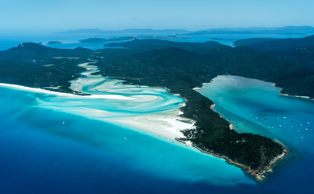Aerial of Whitsunday Island in Queensland, Australia