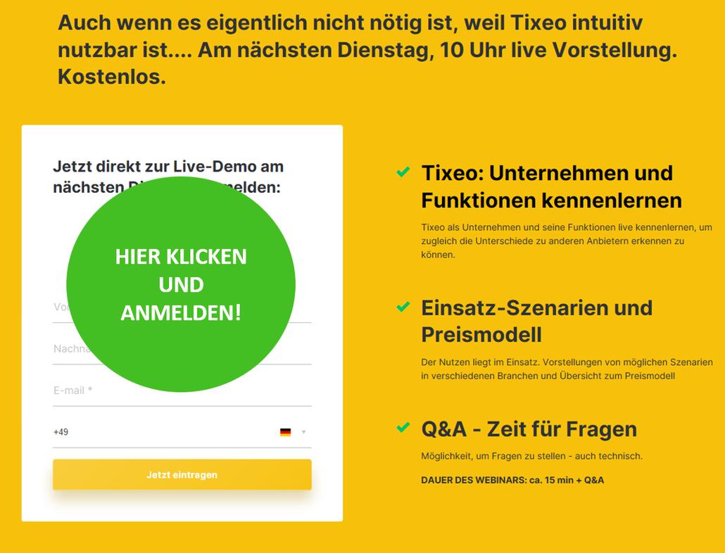 Anmeldemaske um sich für die Live-Demo von Tixeo bei Kanzleiberatung Jasis Consulting anzumelden