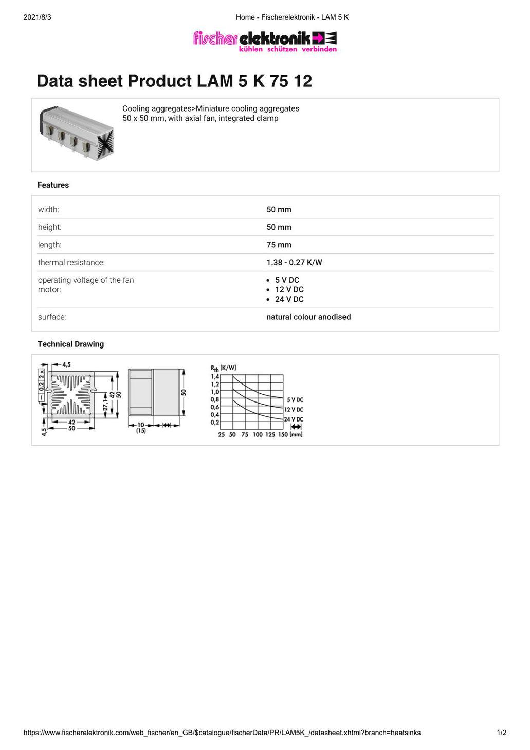 LAM 5 K 75 12 Fischer /フィッシャー 軸流ファン付 ヒートシンク