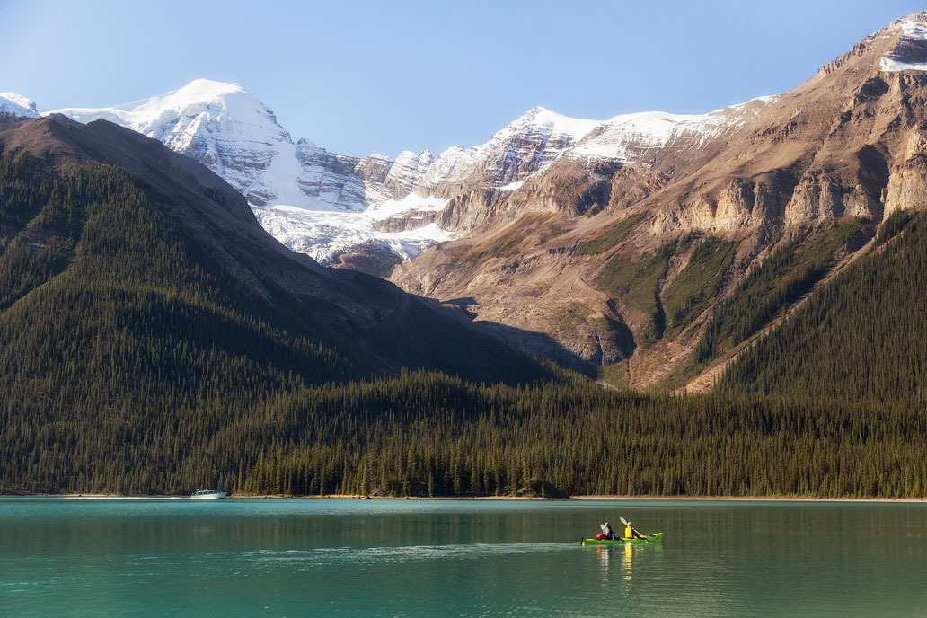 Boat cruise on the Maligne lake. Multi day kayaking trip guide to Spirit Island and beyond.