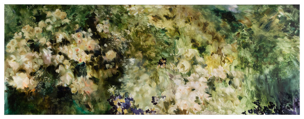 The 18th Hour, Coral Lime Under Foot, 2020, Öl auf Leinwand, 90 x 240 cm