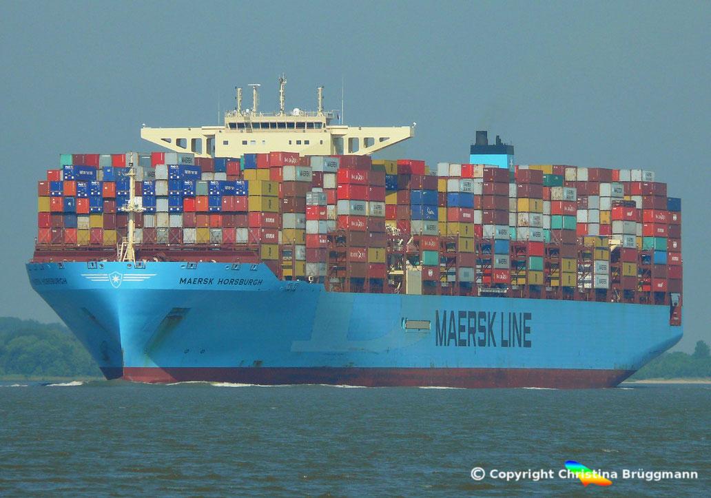 Containerschiff MAERSK HORSBURGH, der Maersk-H Klasse, erstmals in Hamburg