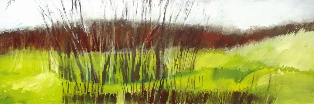 Petit jour de Printemps, pigments et acryl sur toile, 1,50 x 0,50 m, 2012