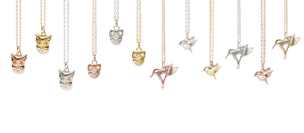 Emma Hedley handmade bird necklaces, owl, hummingbird, silver yellow gold rose gold
