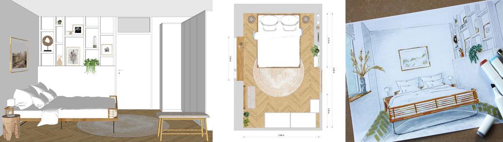 3D impressie van een slaapkamer, schetsontwerp slaapkamer, plattegrond slaapkamer